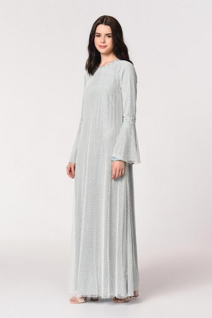 Mizalle - Parlak File Detaylı Mavi Abiye Elbise