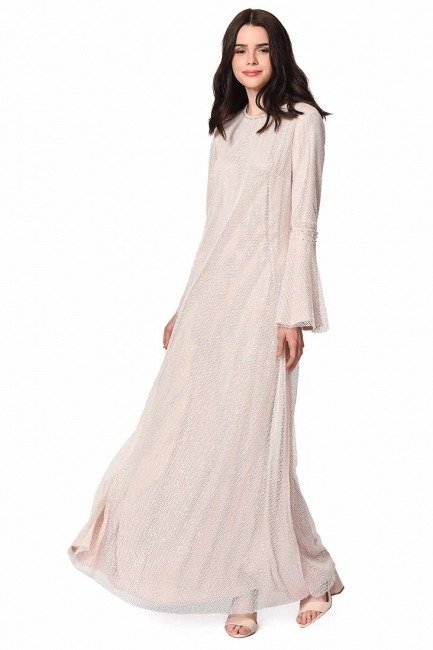 Mizalle - Parlak File Detaylı Abiye Elbise (Pembe) (1)