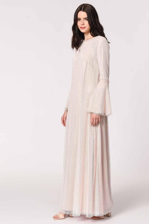 Parlak File Detaylı Pembe Abiye Elbise