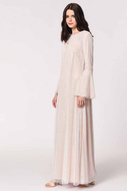 Mizalle - Parlak File Detaylı Abiye Elbise (Pembe)