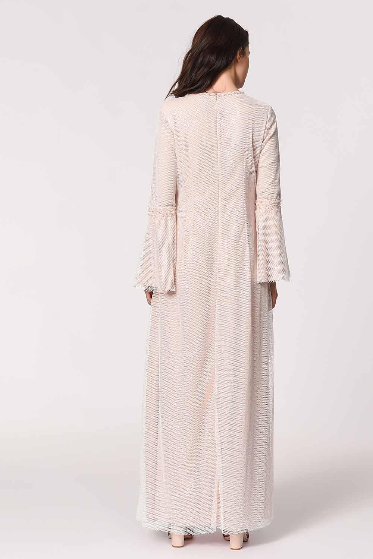 MIZALLE فستان سهرة ، مع تفاصيل شبكة مشرق (الوردي) (1)
