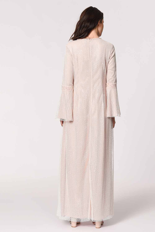 MIZALLE Parlak File Detaylı Abiye Elbise (Pembe) (1)