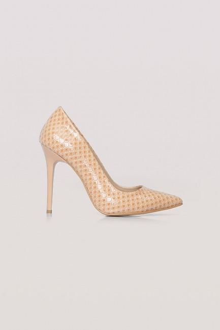 Parlak İnce Topuklu Ayakkabı (Bej) - Thumbnail