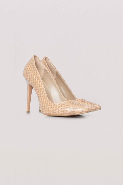 Mizalle - Parlak İnce Topuklu Ayakkabı (Bej)