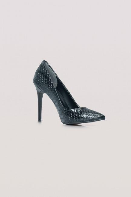 Parlak İnce Topuklu Ayakkabı (Siyah) - Thumbnail