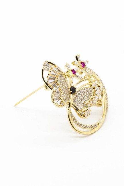 MIZALLE - Shiny Butterfly Brooch (Yellow) (1)
