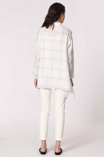 Parlak Simli Ekose Bluz (Beyaz) - Thumbnail