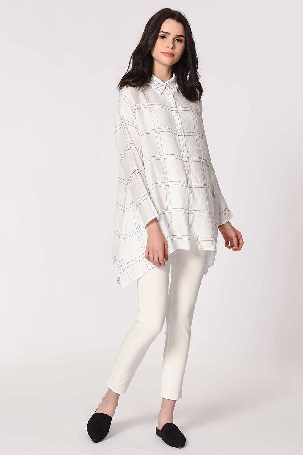 MIZALLE Shinny Plaid Blouse (White) (1)