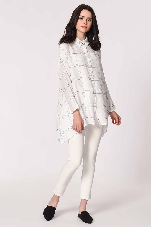 MIZALLE Parlak Simli Ekose Bluz (Beyaz) (1)