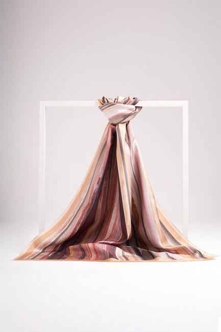 Pastel Colored Silk Shawl (Cream) - Thumbnail