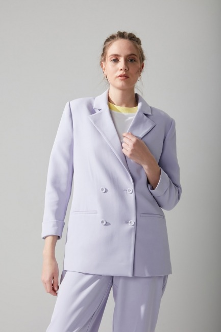 Pastel Renkli Ceket (Lila) - Thumbnail