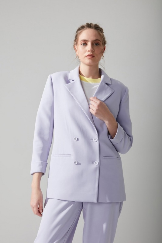 Pastel Renkli Ceket (Lila)