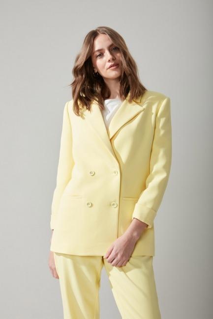 Pastel Renkli Sarı Ceket - Thumbnail