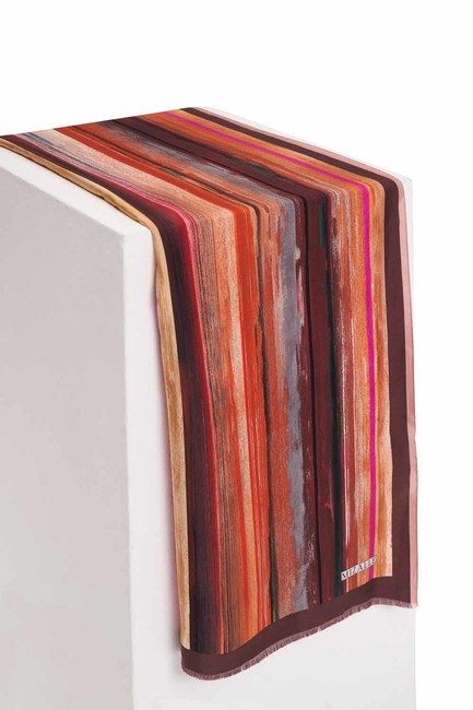 Pastel Renkli İpek Şal (Kahverengi) - Thumbnail