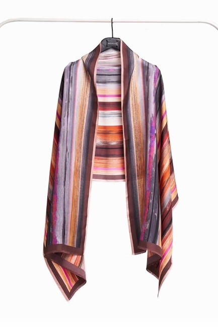Pastel Colored Silk Shawl (Brown) - Thumbnail