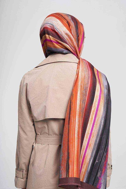 Pastel Renkli İpek Şal (Turuncu) - Thumbnail