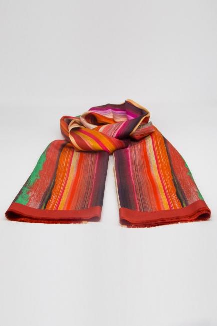 Mizalle - Pastel Renkli İpek Şal (Turuncu)