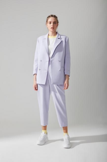 Mizalle - Yüksek Bel Kumaş Lila Pantolon