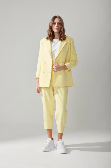 Mizalle - Yüksek Bel Kumaş Sarı Pantolon