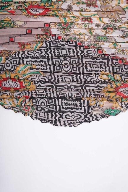 Patch Desenli Kare Fular (Bej) - Thumbnail