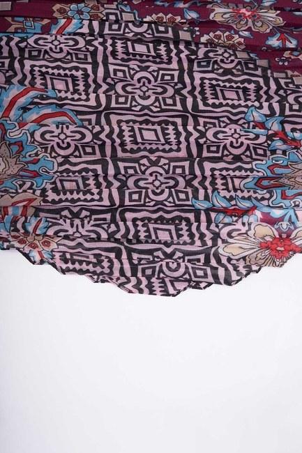 MIZALLE - وشاح بتصميم مربع منقوش (أحمر كلاريت) (1)
