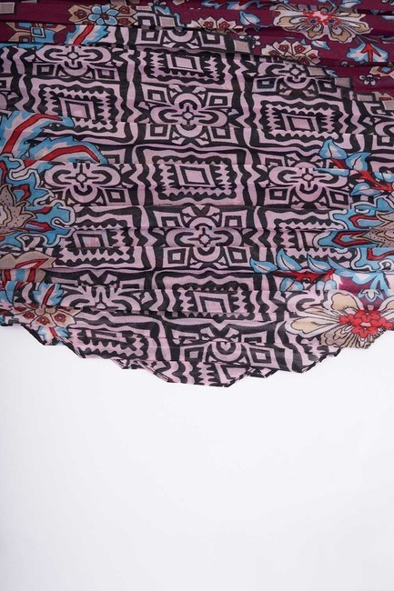 MIZALLE - Patch Patterned Square Scarf (Claret Red) (1)