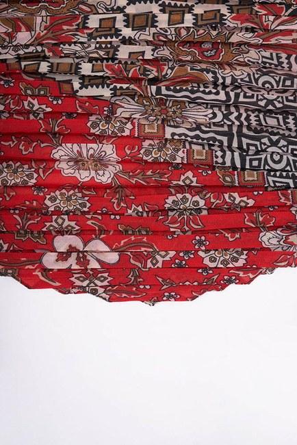 MIZALLE - وشاح بتصميم مربع منقوش (أحمر) (1)