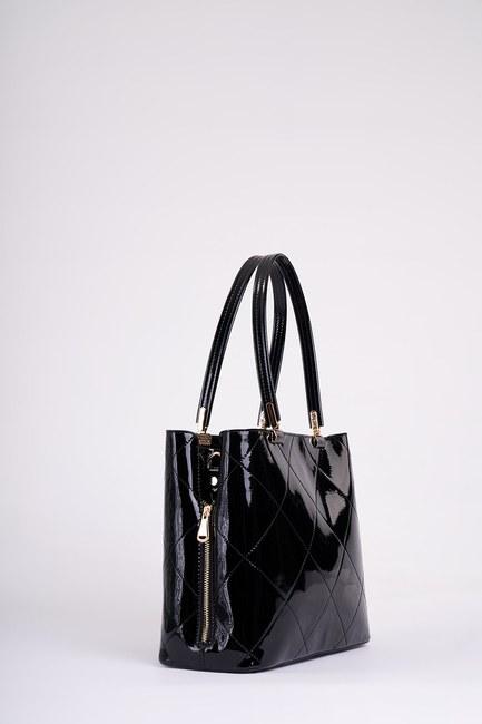 MIZALLE - Patent Leather Shoulder Bag (Black) (1)