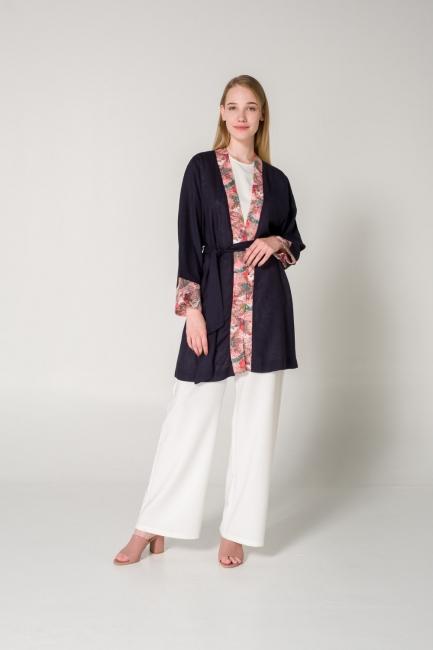 Mizalle - Patı Desenli Keten Lacivert Kimono
