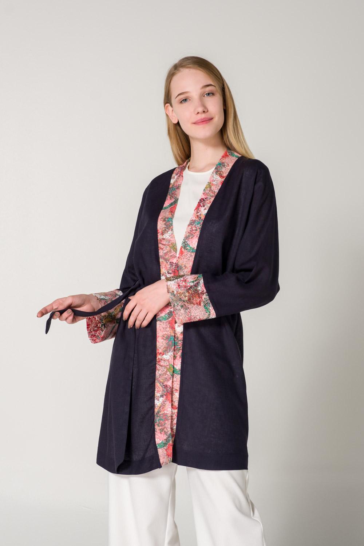 Patı Desenli Keten Lacivert Kimono