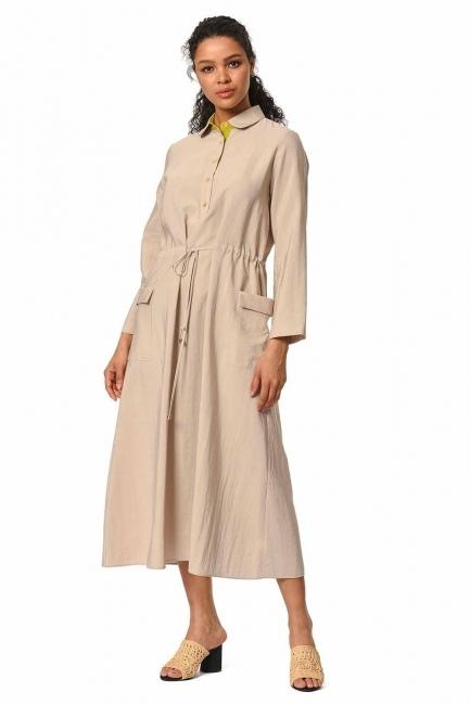 MIZALLE فستان طويل مع تفاصيل النجمة ومظروف الجيب (البيج)