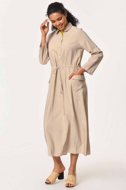 فستان طويل مع تفاصيل النجمة ومظروف الجيب (البيج) - Thumbnail