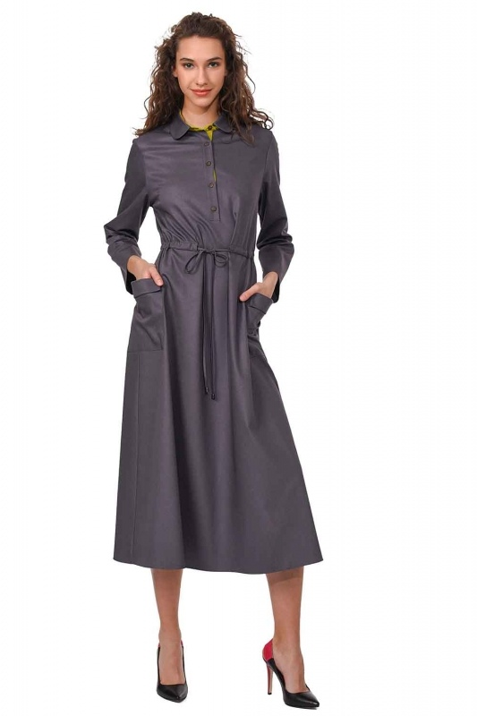 فستان طويل مع تفاصيل النجمة ومظروف الجيب (رمادي)