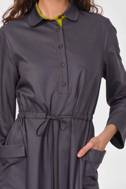Patı Garnili Torba Cepli Uzun Elbise (Gri) - Thumbnail