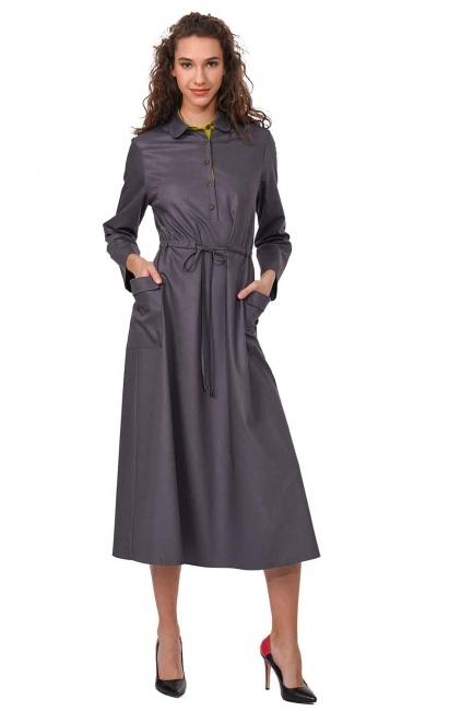 MIZALLE Patı Garnili Torba Cepli Uzun Elbise (Gri)