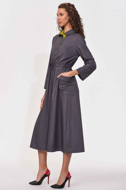 MIZALLE - Bag Pocket Long Dress (Grey) (1)