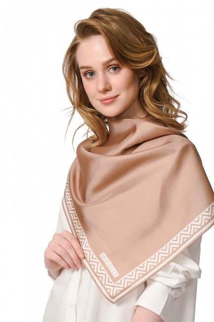 Mizalle Patterned Edges Silk Scarf (Beige)