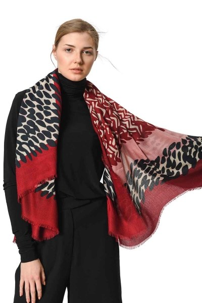 Patterned Luxurious Thin Shawl (Claret Red) - Thumbnail
