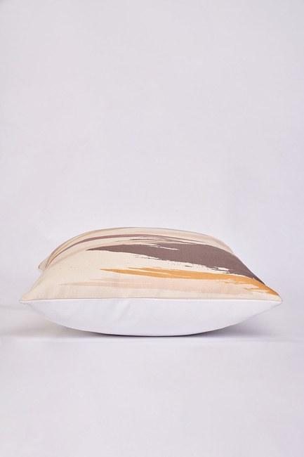 Mizalle Home - غطاء وسادة منقوشة 45 × 45 (عاجي) (1)