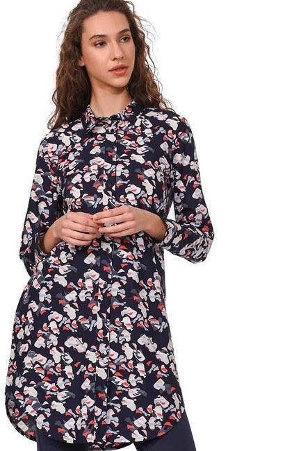 قميص البوبلين منقوش (كُحْلِيّ) - Thumbnail
