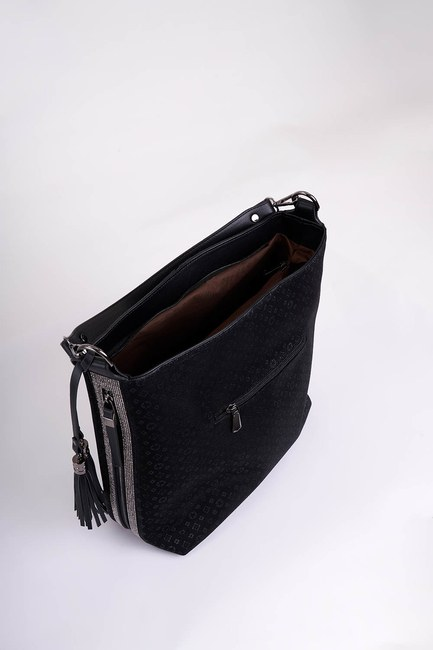 Mizalle - Patterned Shoulder Bag (Black) (1)