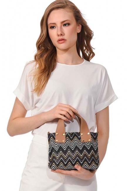 Patterned Zigzag Handbag (Black) - Thumbnail