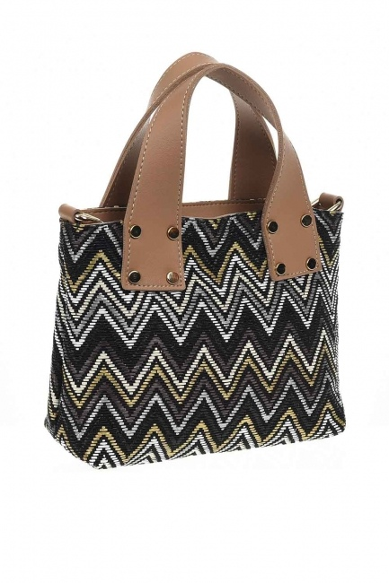 Mizalle - Patterned Zigzag Handbag (Black) (1)