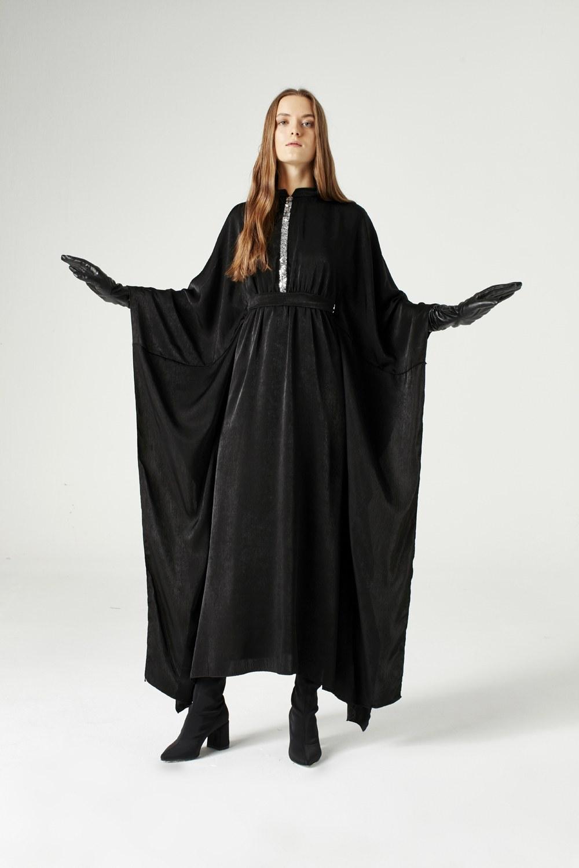 MIZALLE فستان مزود يشريط من الترتر (أسود) (1)