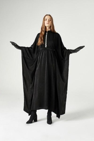 MIZALLE - Payet Şerit Detaylı Elbise (Siyah) (1)