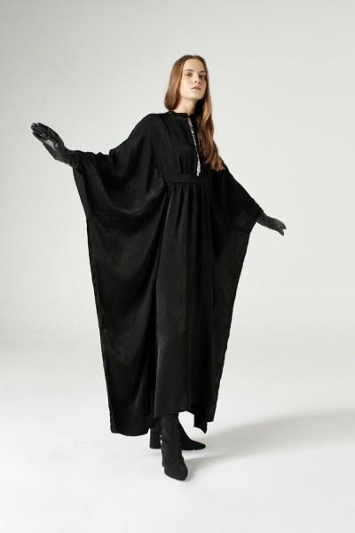 Payet Şerit Detaylı Elbise (Siyah) - Thumbnail