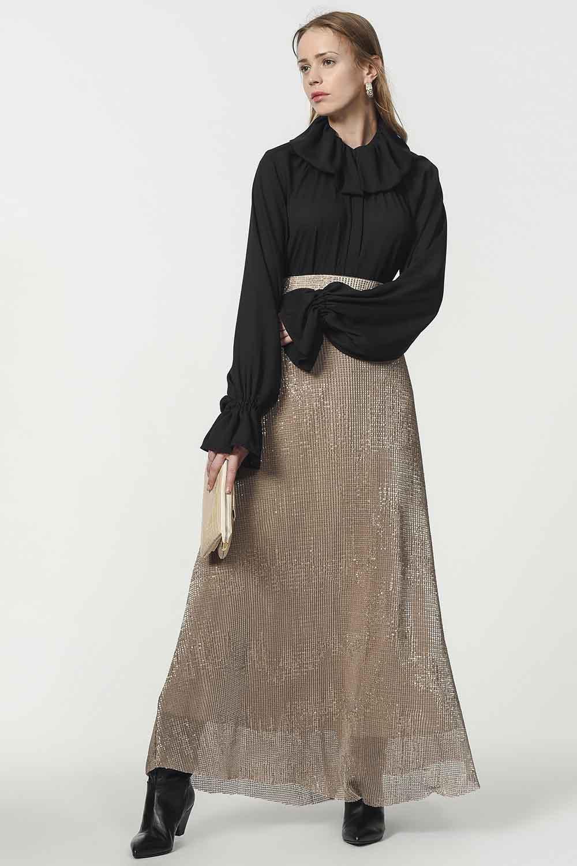 MIZALLE Sequin Skirt (Beige) (1)