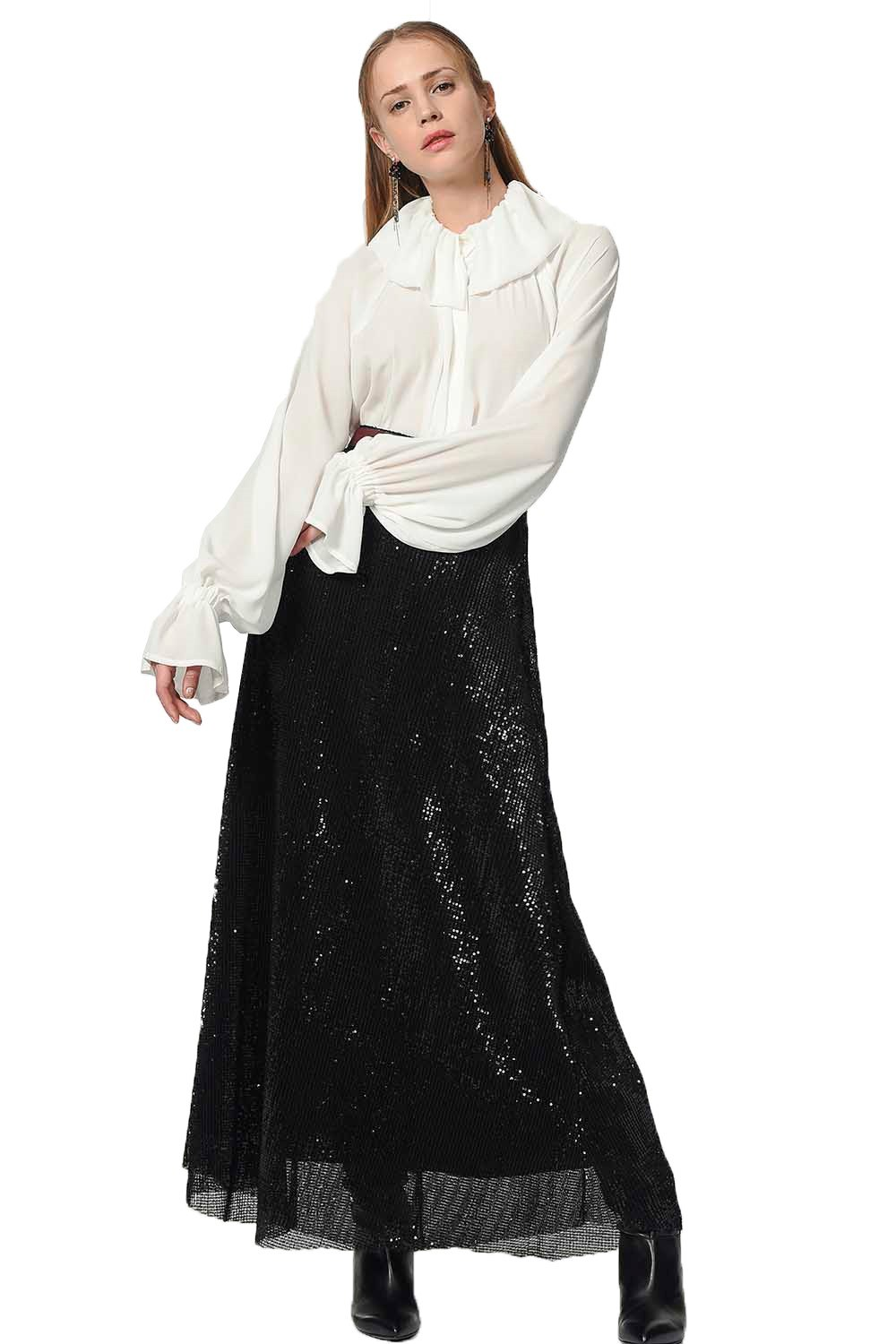 MIZALLE Sequin Skirt (Black) (1)