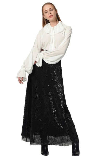 MIZALLE - Sequin Skirt (Black) (1)