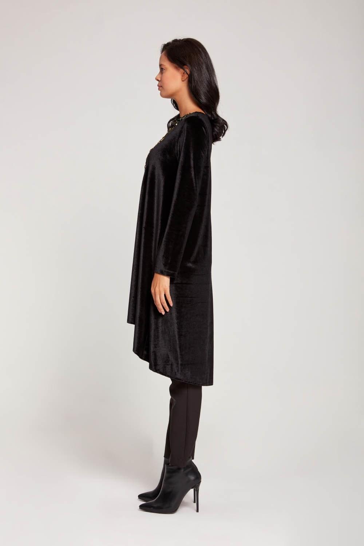 Payetli Kadife Siyah Tunik